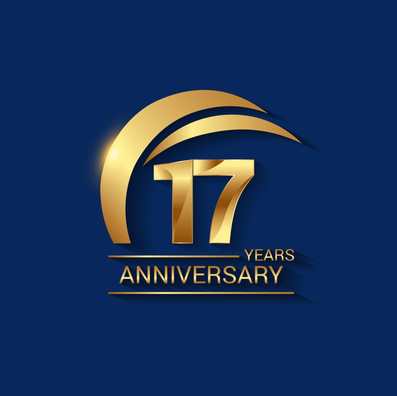 17 Years Anniversary Celebration Logotype. Golden Elegant Vector Illustration with Gold Swoosh